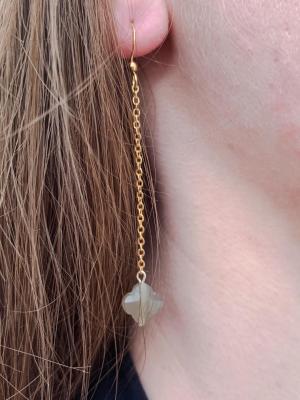 BO chaîne et perle de verre en forme de fleur