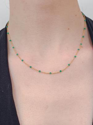 Collier ras le cou en plaqué or et perles naturelles