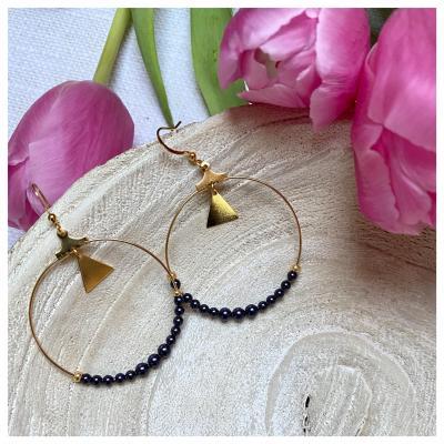 Créoles avec perles nacrées en cristal