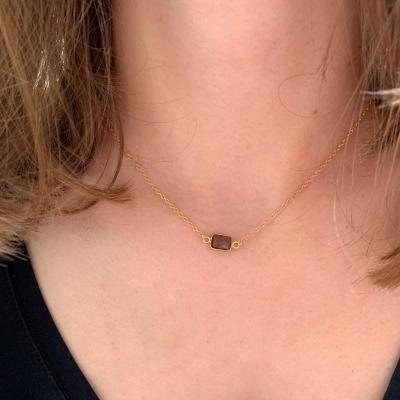 Collier plaqué or et perle naturelle