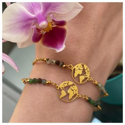 Bracelet plaque monde plaqué or