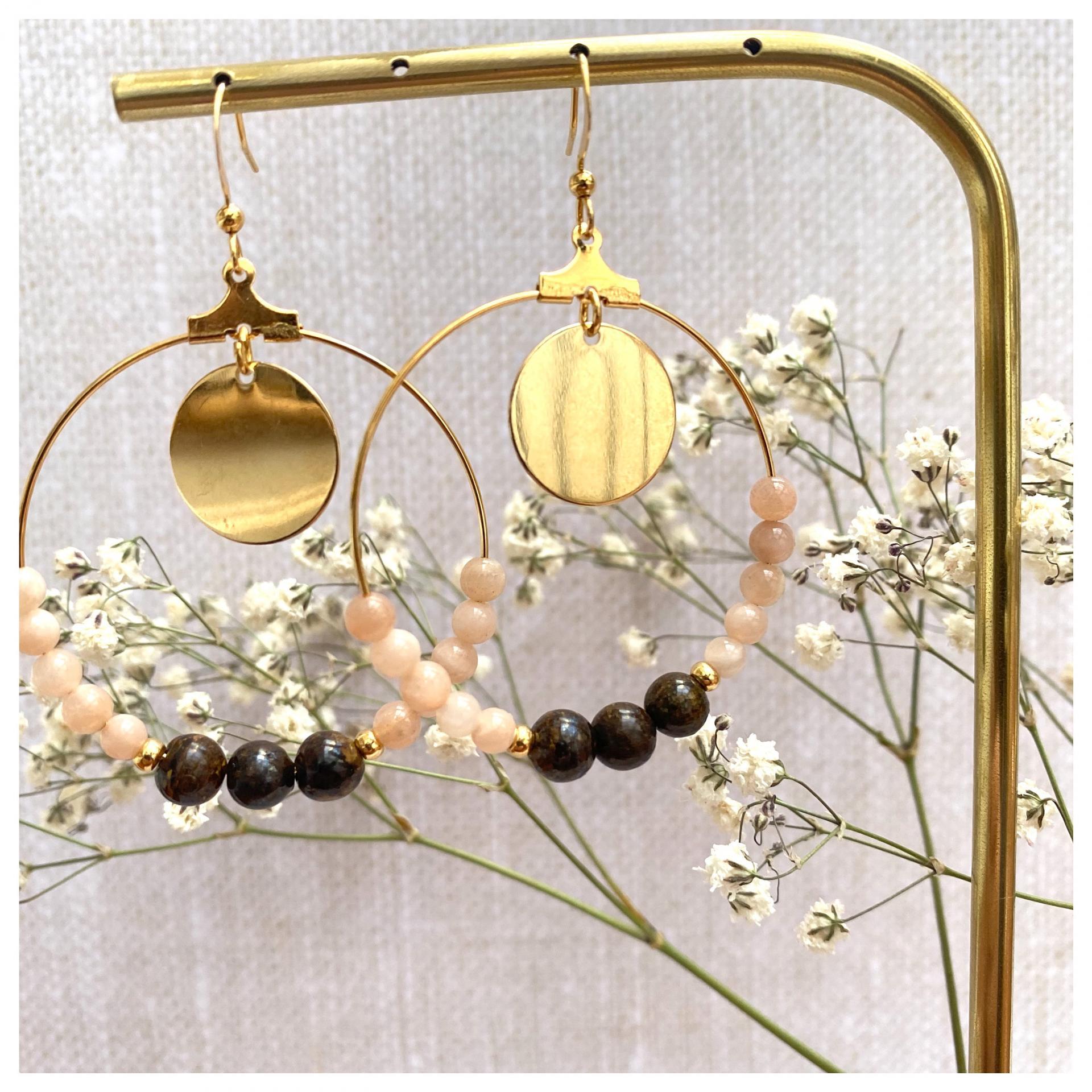 Créoles avec perles naturelles