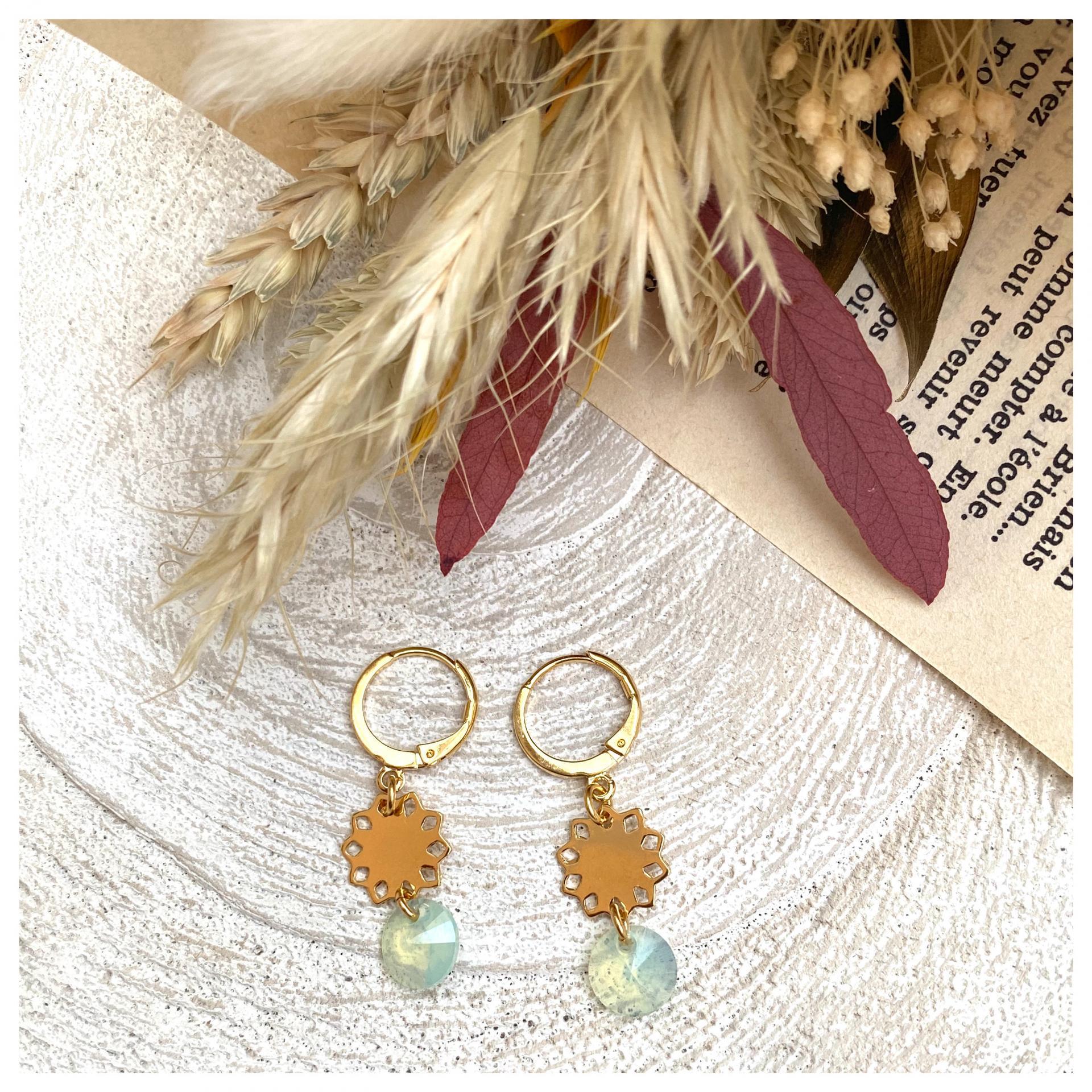 Boucles d'oreilles mini soleil et pendentif cristal