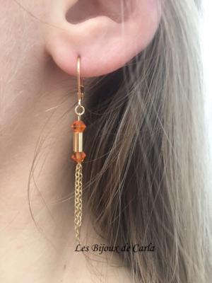Boucles d'oreille perles en cristal et mini tube