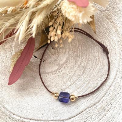 Bracelet lien avec carré en cristal