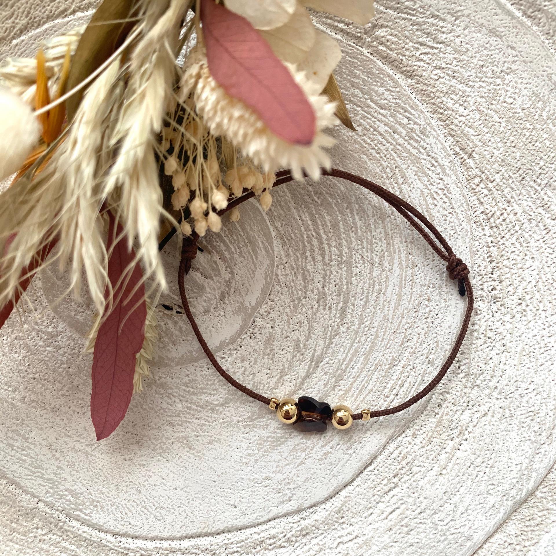 Bracelet lien papillon cristal et perles