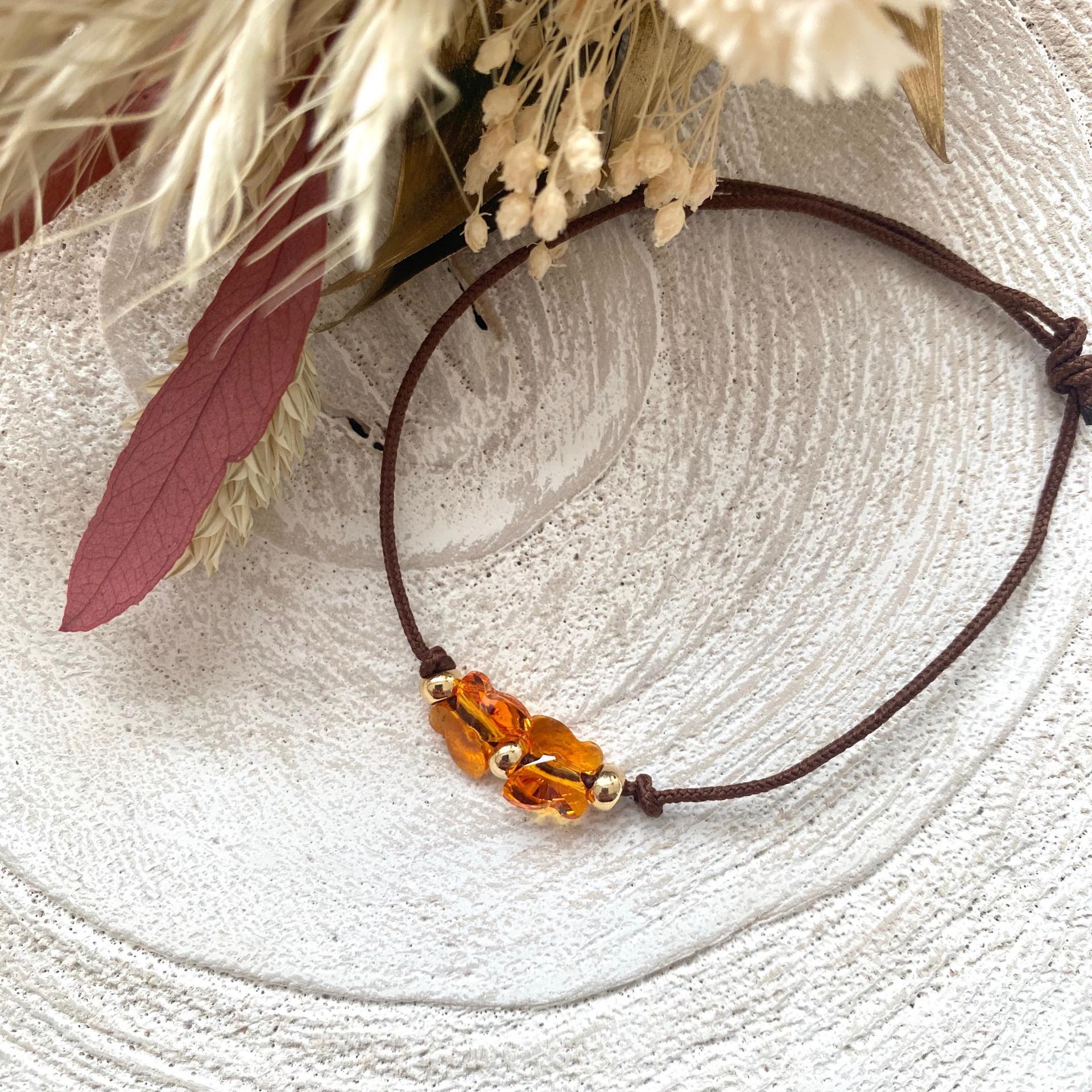 Bracelet lien deux papillons cristal