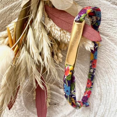 Bracelet cordon liberty plaque dorée