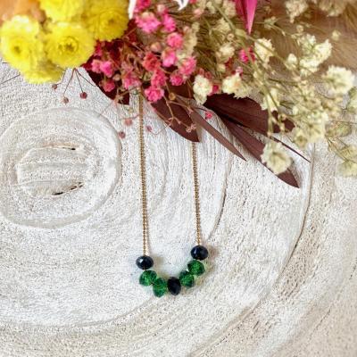 Collier chaine boule avec perles en cristal