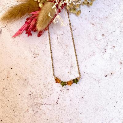 Collier avec étoiles en cristal et perles plaqué or