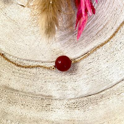 Bracelet plaqué or avec perle gemme
