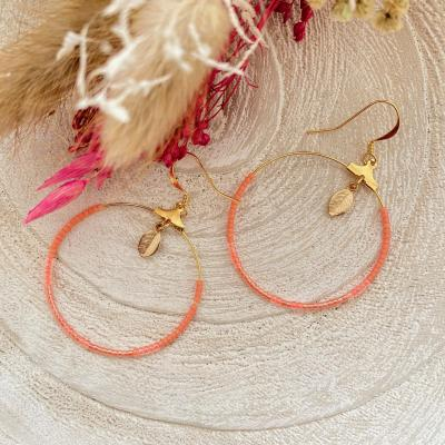 Créoles en perles Miyuki et pendentif feuille