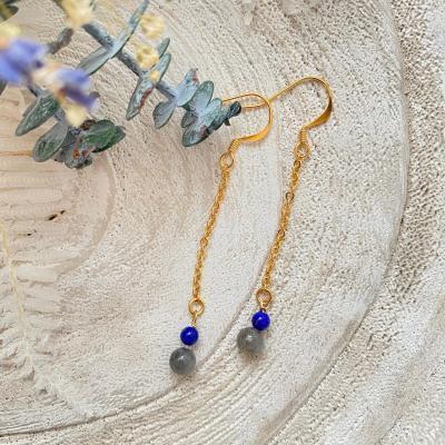 Boucles d'oreilles chaine et perles naturelles