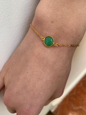 Bracelet plaqué or et perle naturelle
