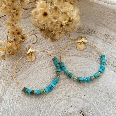 Créoles avec perles naturelles heishi