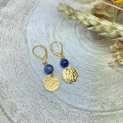 Boucles d'oreilles perle naturelle et pampille martelée