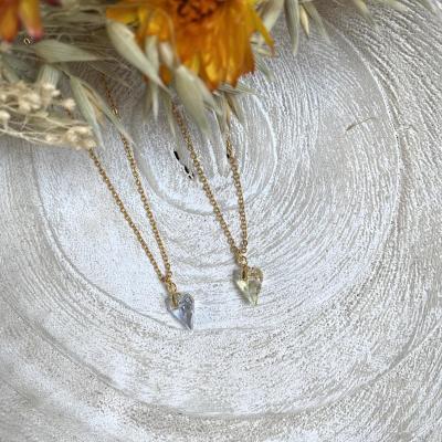 Collier plaqué or avec pendentif coeur en cristal