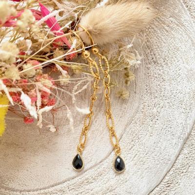 Boucles d'oreilles chaîne et pendentif goutte