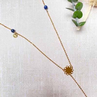 Sautoir avec rosace et perles naturelles