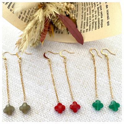 Boucles d'oreilles chaîne et perle de verre